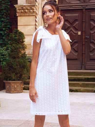 Белое платье из прошвы с открытой спинкой 54343, фото 1