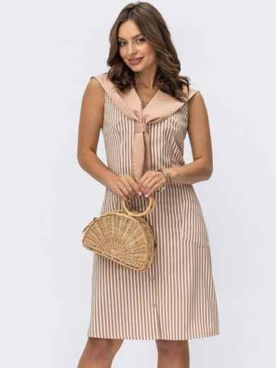 Платье в бежевую полоску с воротником и накладными карманами 54222, фото 1