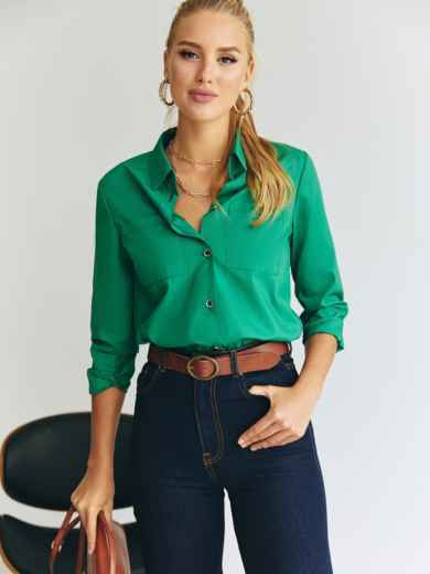 Зеленая рубашка с накладными карманами 54645, фото 1