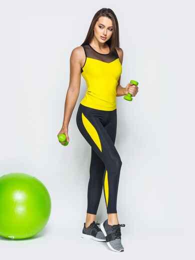 Комплект для фитнеса с сеткой на желтой майке - 17154, фото 1 – интернет-магазин Dressa