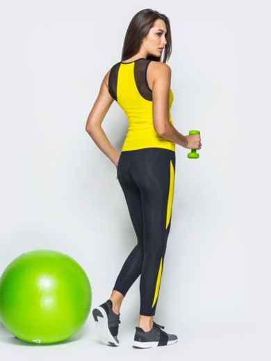 Комплект для фитнеса с сеткой на желтой майке - 17154, фото 2 – интернет-магазин Dressa