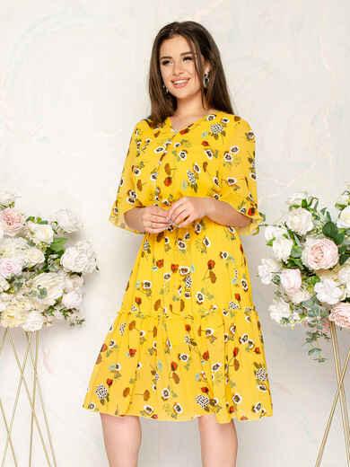 Шифоновое платье желтого цвета с принтом 49016, фото 1