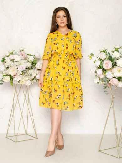 Шифоновое платье желтого цвета с принтом 49016, фото 2
