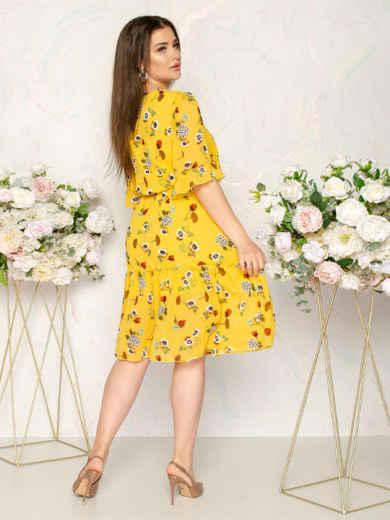 Шифоновое платье желтого цвета с принтом 49016, фото 3