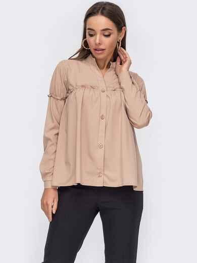 Свободная блузка из софта с воротником-стойкой бежевая 53284, фото 1