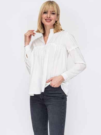 Свободная блузка из софта с воротником-стойкой молочная 53283, фото 1