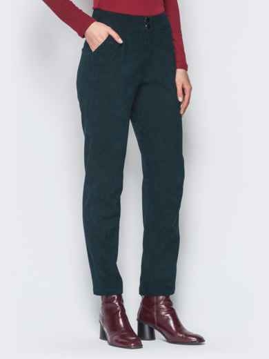 Укороченные брюки из вельвета тёмно-зелёные - 18739, фото 2 – интернет-магазин Dressa