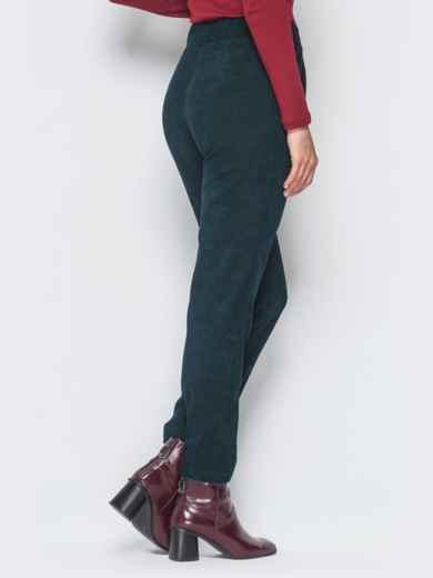 Укороченные брюки из вельвета тёмно-зелёные - 18739, фото 3 – интернет-магазин Dressa