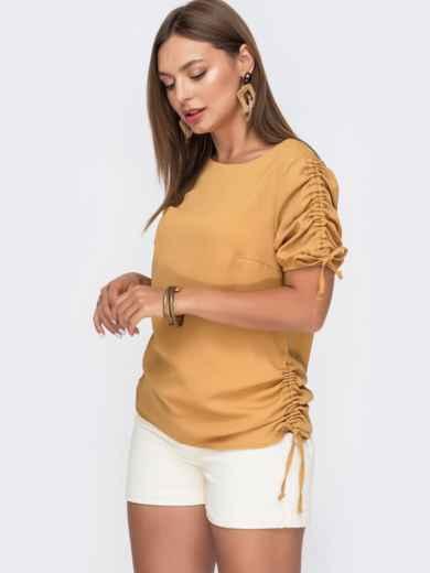 Желтая блузка прямого кроя с кулиской по бокам 49115, фото 2