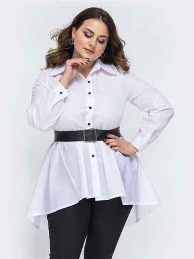 Белая рубашка батал с удлиненной спинкой 45272, фото 1