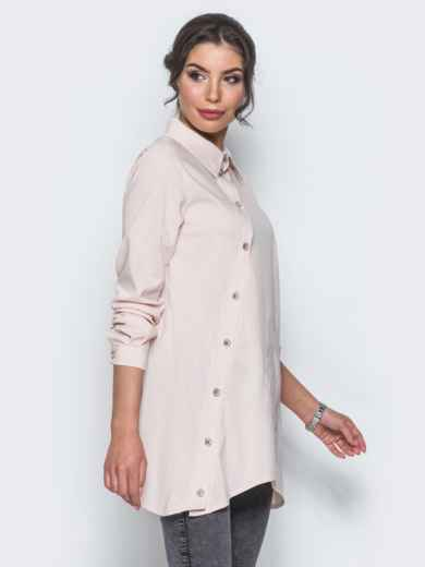 Бежевая рубашка с ассиметричной планкой-застежкой - 12917, фото 2 – интернет-магазин Dressa
