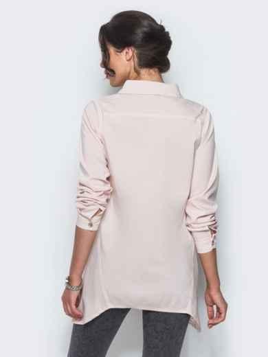 Бежевая рубашка с ассиметричной планкой-застежкой - 12917, фото 3 – интернет-магазин Dressa