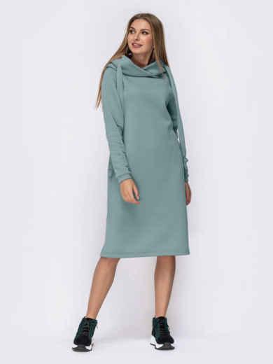 Бирюзовое платье на флисе в стиле oversize с капюшоном 55207, фото 1
