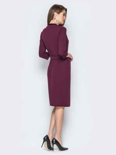 Бордовое платье с карманами и отделкой из велюра - 19445, фото 2 – интернет-магазин Dressa