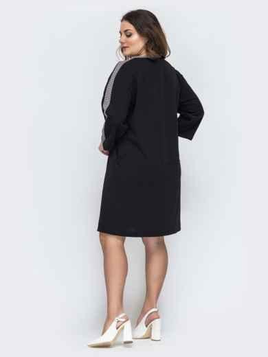 Чёрное платье батал прямого кроя 45264, фото 2