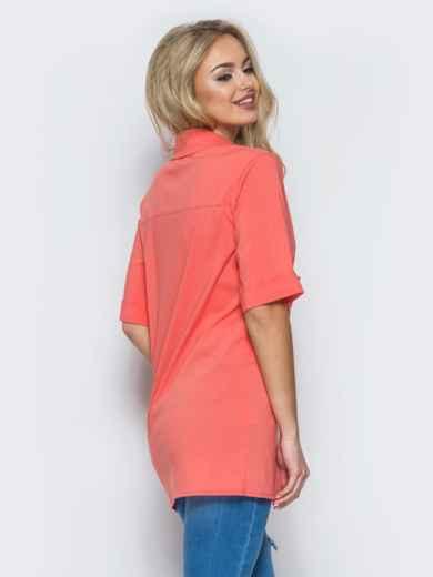 Хлопковая рубашка с карманом на полочке коралловая - 12915, фото 3 – интернет-магазин Dressa