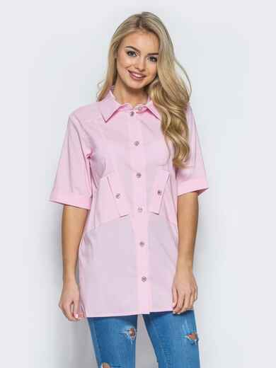 Хлопковая рубашка с карманом на полочке розовая 13407, фото 1