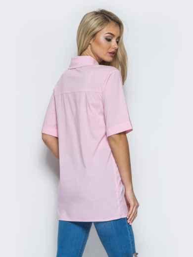 Хлопковая рубашка с карманом на полочке розовая 13407, фото 3