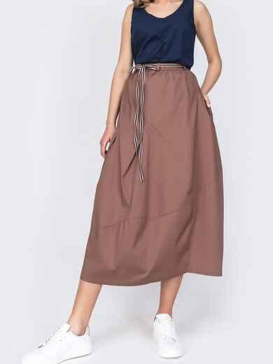 Хлопковая юбка коричневого цвета с карманами 48638, фото 1