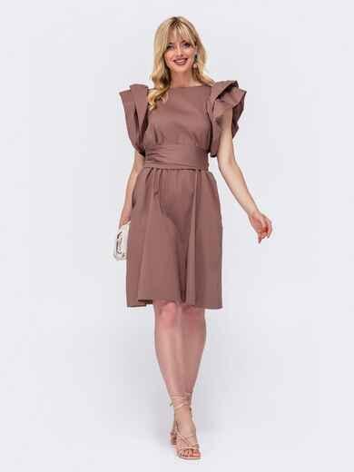 Хлопковое платье с объемными воланами по бокам коричневое 48519, фото 1