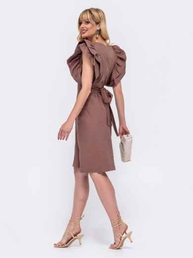 Хлопковое платье с объемными воланами по бокам коричневое 48519, фото 2