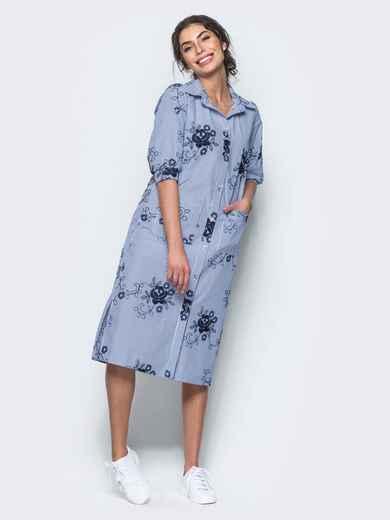 Хлопковое синее платье-рубашка с вышивкой - 12537, фото 1 – интернет-магазин Dressa