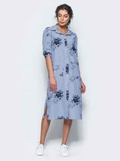 Хлопковое синее платье-рубашка с вышивкой - 12537, фото 2 – интернет-магазин Dressa