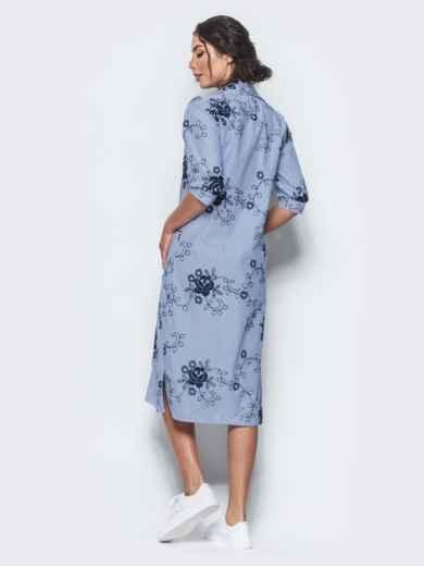 Хлопковое синее платье-рубашка с вышивкой - 12537, фото 3 – интернет-магазин Dressa