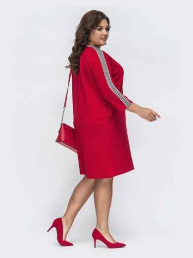 Красное платье батал прямого кроя 45266, фото 3