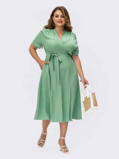 Мятное платье на запах большого размера с коротким рукавом 54483, фото 1