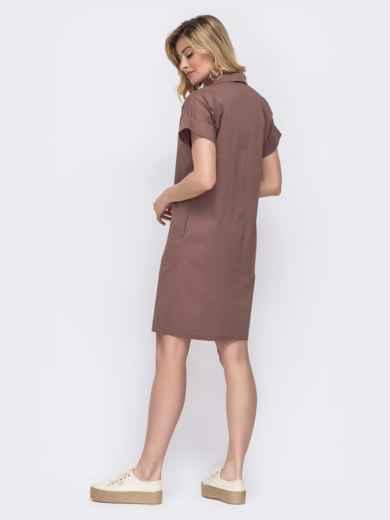 Платье-рубашка из хлопка коричневого цвета 48516, фото 2