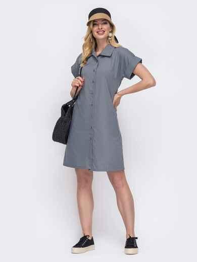 Платье-рубашка из хлопка серого цвета 48515, фото 1
