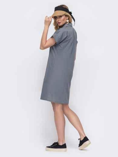 Платье-рубашка из хлопка серого цвета 48515, фото 2