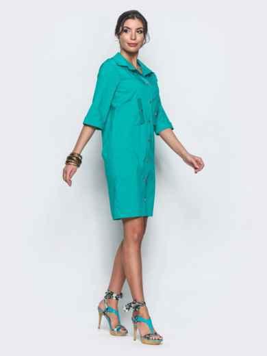 Платье-рубашка с функциональными пуговицами бирюзовое - 12701, фото 2 – интернет-магазин Dressa