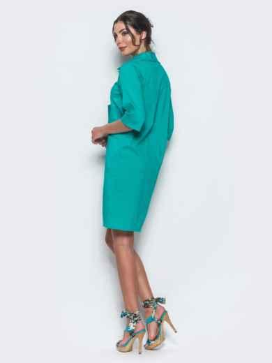 Платье-рубашка с функциональными пуговицами бирюзовое - 12701, фото 3 – интернет-магазин Dressa