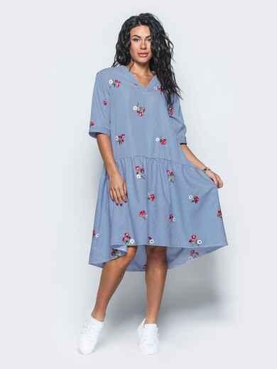 Платье-рубашка с вышивкой и воланом по низу синее - 11172, фото 1 – интернет-магазин Dressa