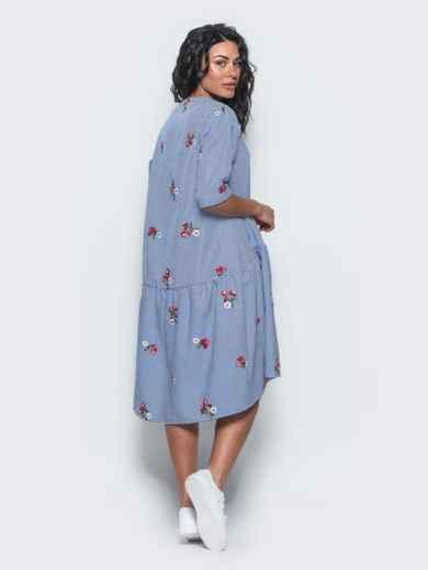 Платье-рубашка с вышивкой и воланом по низу синее - 11172, фото 2 – интернет-магазин Dressa
