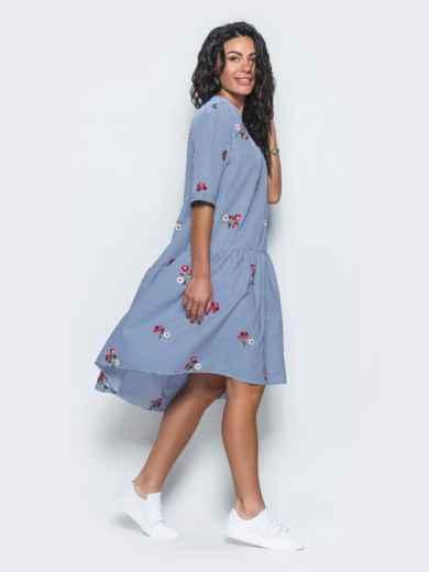 Платье-рубашка с вышивкой и воланом по низу синее - 11172, фото 3 – интернет-магазин Dressa