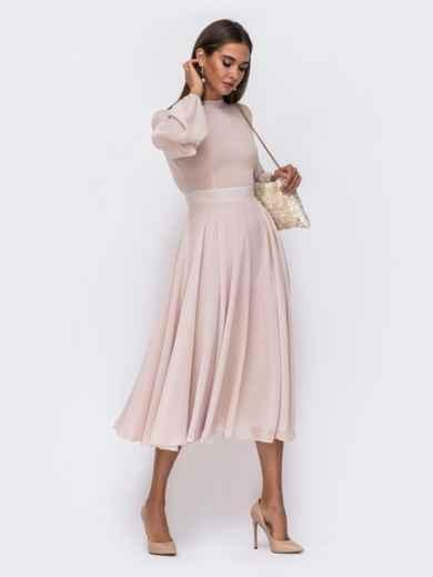 Платье с открытой спиной и юбкой-солнце бежевое 50087, фото 2