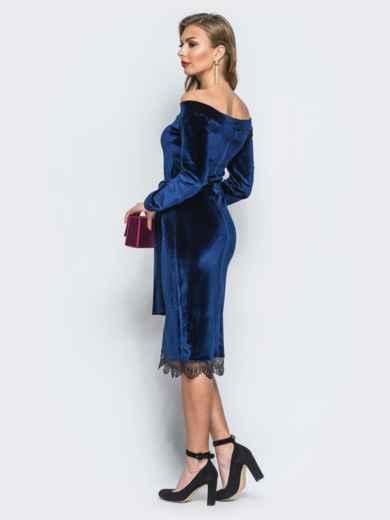 Платье синего цвета из велюра с открытыми плечами - 18134, фото 3 – интернет-магазин Dressa