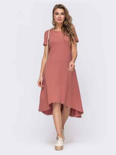 Приталенное платье с удлиненной спинкой розовое 48513, фото 1