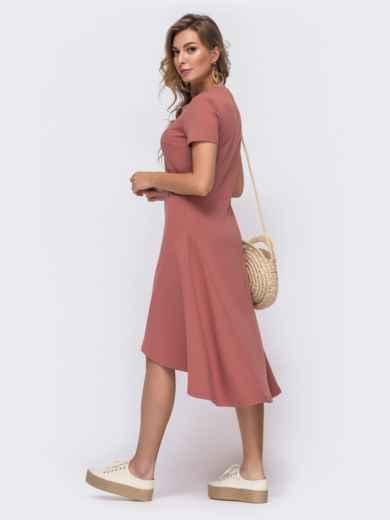 Приталенное платье с удлиненной спинкой розовое 48513, фото 2