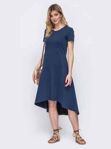 Приталенное платье с удлиненной спинкой тёмно-синее 48512, фото 1