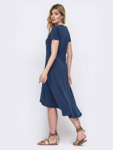 Приталенное платье с удлиненной спинкой тёмно-синее 48512, фото 2