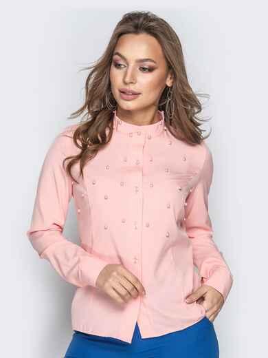 Розовая блузка из софта с бусинами и воротником-стойкой 20541, фото 1
