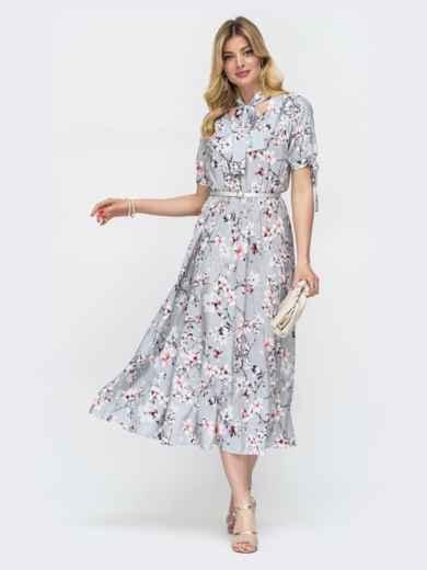 """Серое платье с резинкой в поясе и воротником """"аскот"""" 48530, фото 1"""
