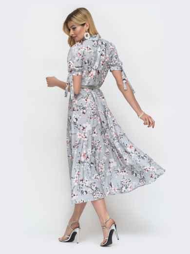 """Серое платье с резинкой в поясе и воротником """"аскот"""" 48530, фото 2"""