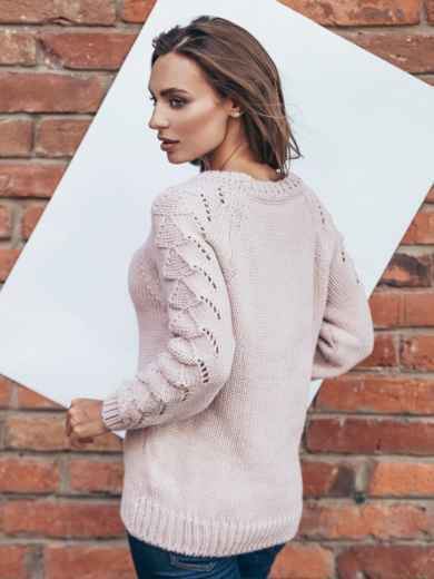 Свитер розовый с перфорацией на рукавах - 13010, фото 3 – интернет-магазин Dressa