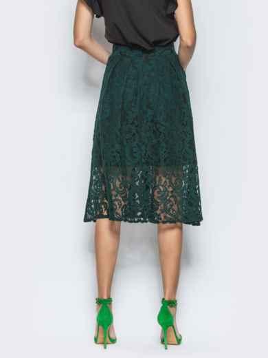 Зеленая гипюровая юбка-миди - 12881, фото 2 – интернет-магазин Dressa