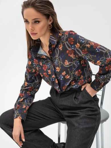 Рубашка прямого кроя с цветочным принтом чёрная 51546, фото 1